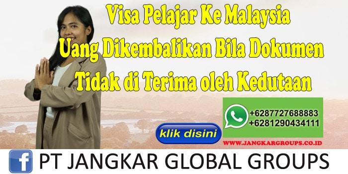 Visa Pelajar Ke Malaysia Uang Dikembalikan Bila Dokumen Tidak di Terima oleh Kedutaan