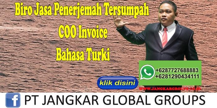 Biro Jasa Penerjemah Tersumpah COO Invoice Bahasa Turki