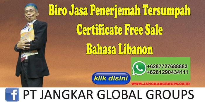 Biro Jasa Penerjemah Tersumpah Certificate Free Sale Bahasa Libanon