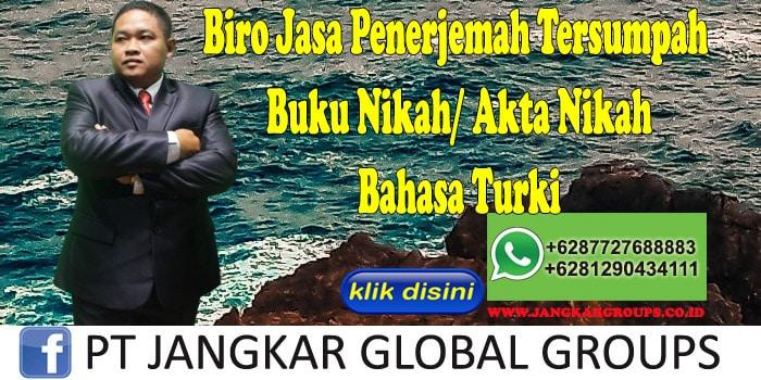 Biro Jasa Penerjemah Tersumpah buku nikah akta nikah Bahasa Turki
