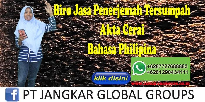 Biro Jasa penerjemah tersumpah Akta Cerai Bahasa Philipina