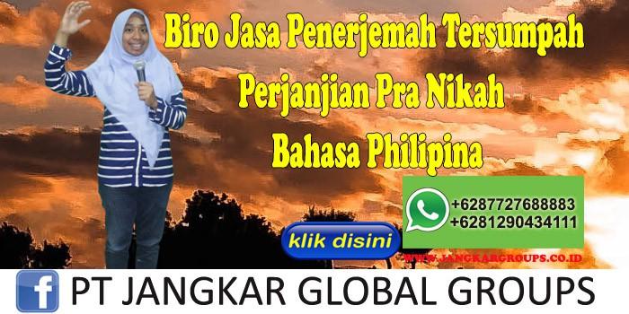 Biro Jasa penerjemah tersumpah Perjanjian Pra Nikah Bahasa Philipina