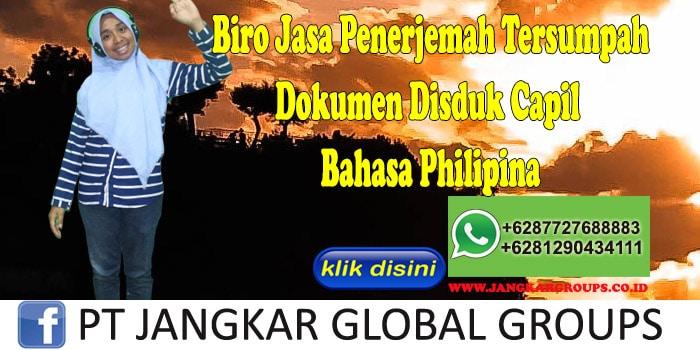 Biro jasa penerjemah tersumpah Dokumen Disduk Capil Bahasa Philipina