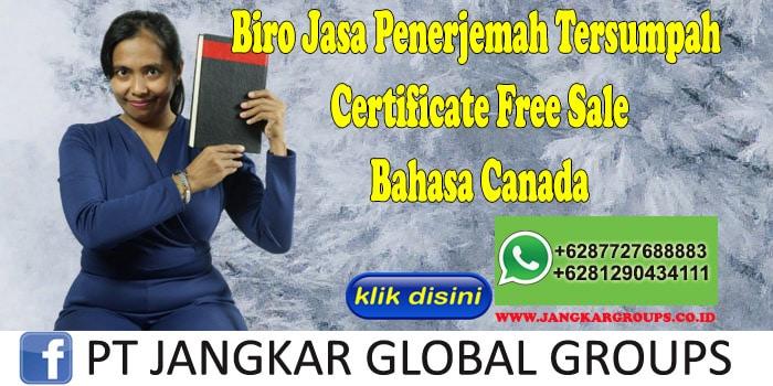 Biro Jasa Penerjemah Tersumpah Certificate Free Sale Bahasa Canada