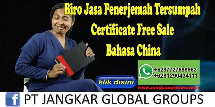 Biro Jasa Penerjemah Tersumpah Certificate Free Sale Bahasa China
