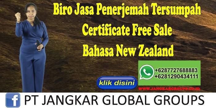 Biro Jasa Penerjemah Tersumpah Certificate Free Sale Bahasa New Zealand