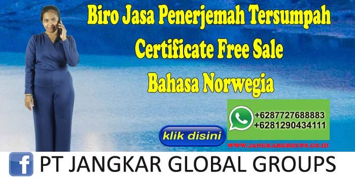 Biro Jasa Penerjemah Tersumpah Certificate Free Sale Bahasa Norwegia