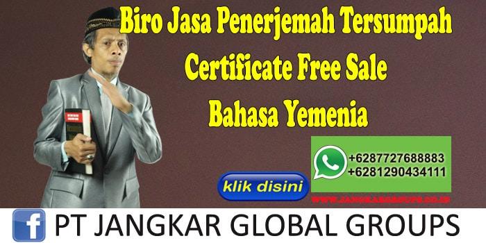 Biro Jasa Penerjemah Tersumpah Certificate Free Sale Bahasa Yemenia