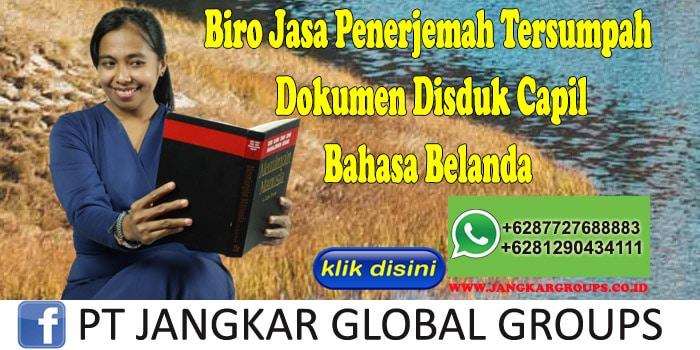 Biro Jasa Penerjemah Tersumpah Dokumen Disduk Capil Bahasa Belanda