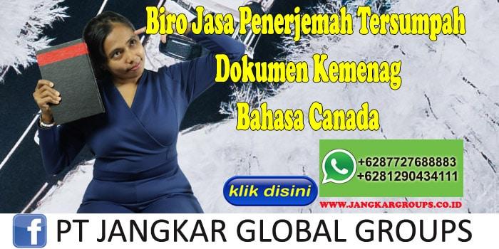 Biro Jasa Penerjemah Tersumpah Dokumen Kemenag Bahasa Canada