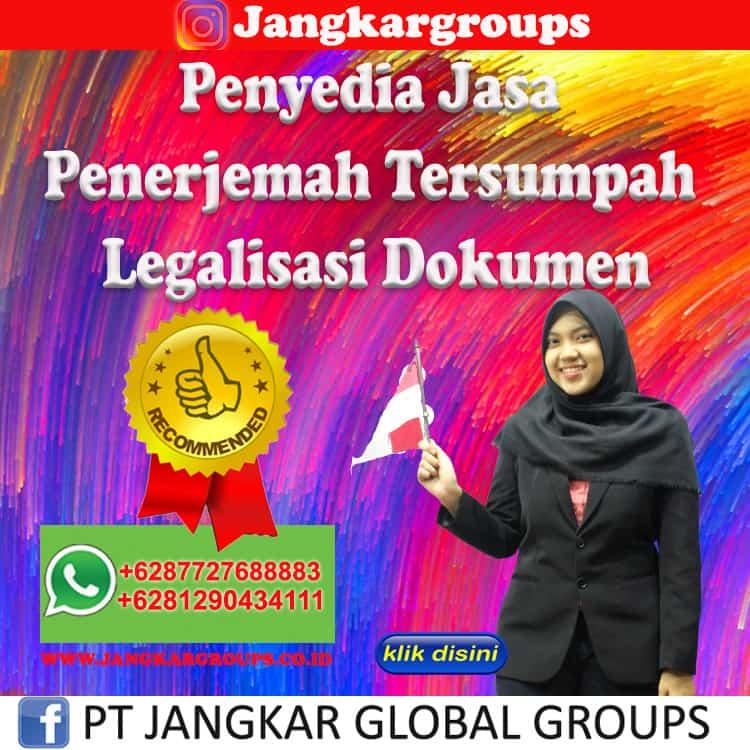 Penyedia Jasa Penerjemah Tersumpah Legalisasi Dokumen