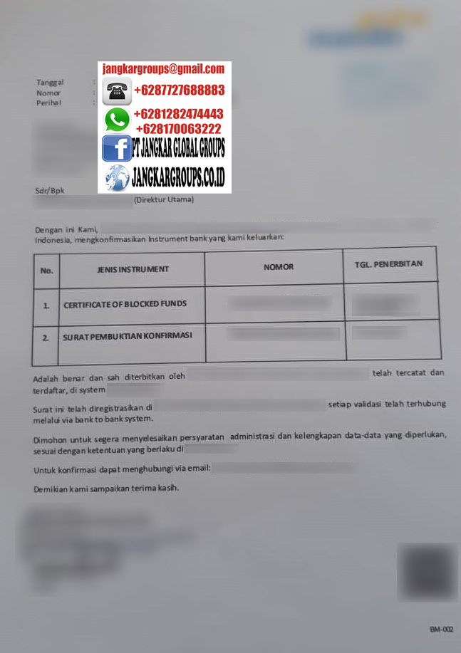 verifikasi konfirmasi keabsahan block of fund
