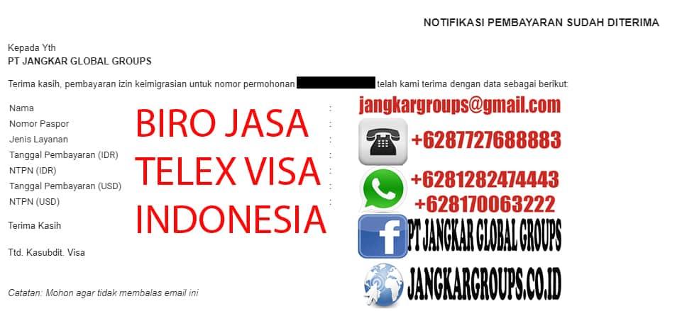 Notifikasi pembayaran visa Indonesia