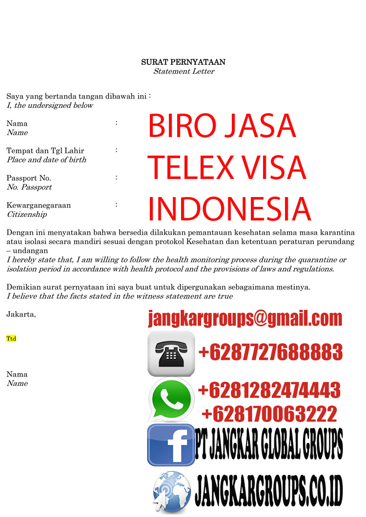 Statement Letter for Enter to Indonesia-2