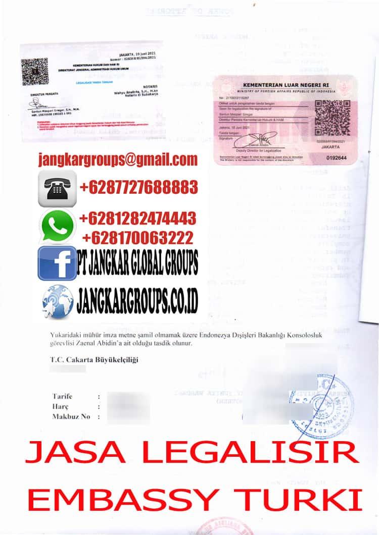 JASA LEGALISIR EMBASSY TURKI