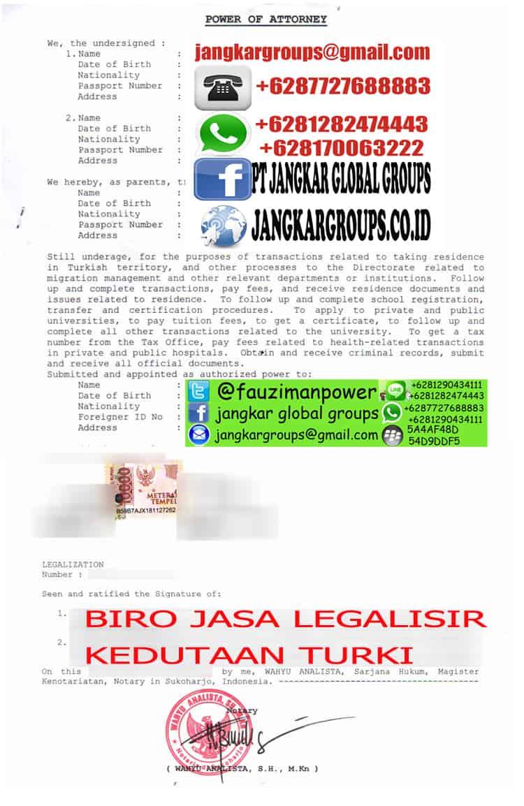 LEGALISIR POWER OF ATTORNEY KEDUTAAN TURKI