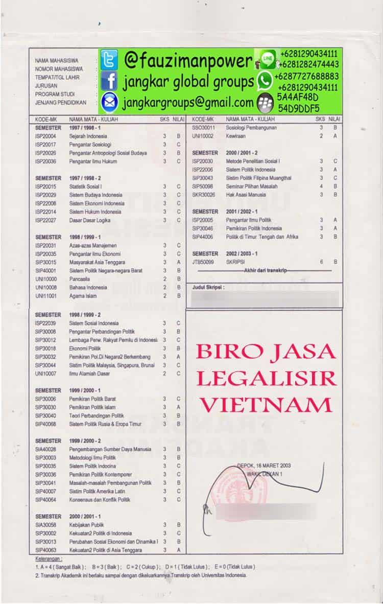 legalisir transkrip nilai kedutaan vietnam