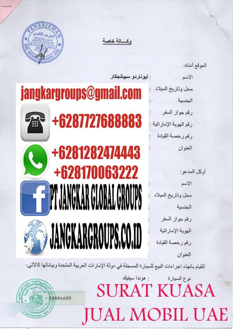 SURAT KUASA JUAL MOBIL DI UAE