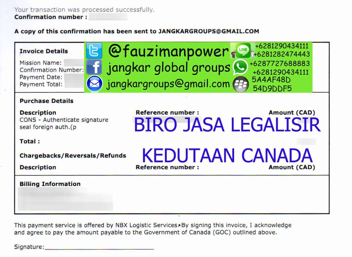 BIRO JASA LEGALISIR KEDUTAAN CANADA