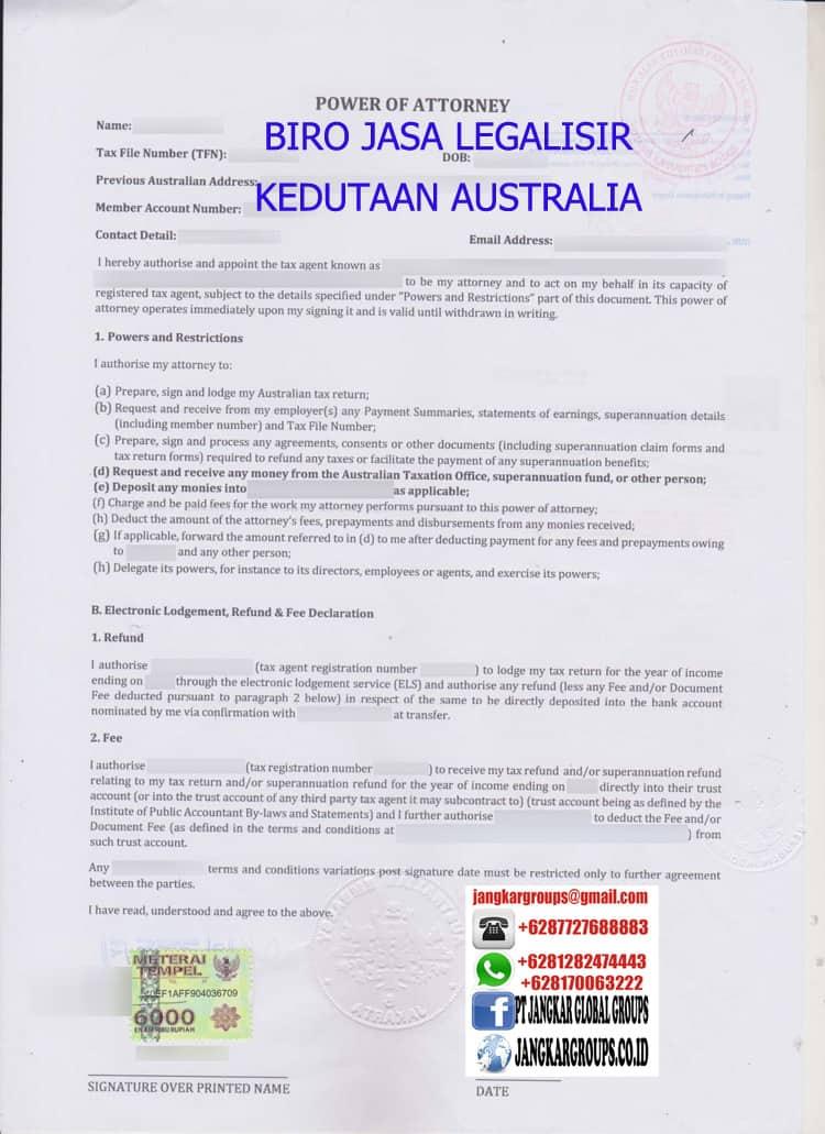 BIRO JASA LEGALISIR POWER OF ATTORNEY KEDUTAAN AUSTRALIA