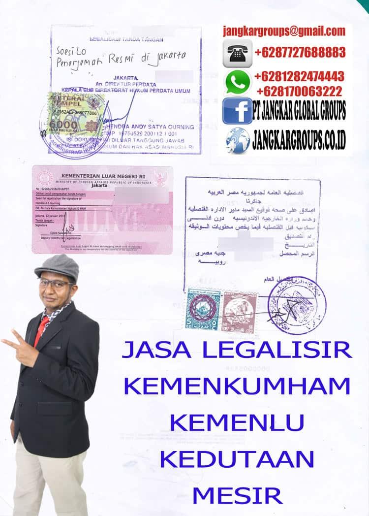 JASA LEGALISIR KEMENKUMHAM KEMENLU MESIR