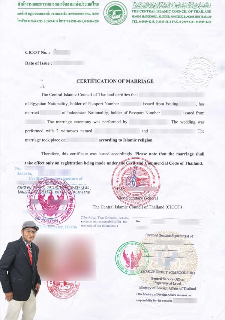 Sertifikat menikah Cicot Thailand