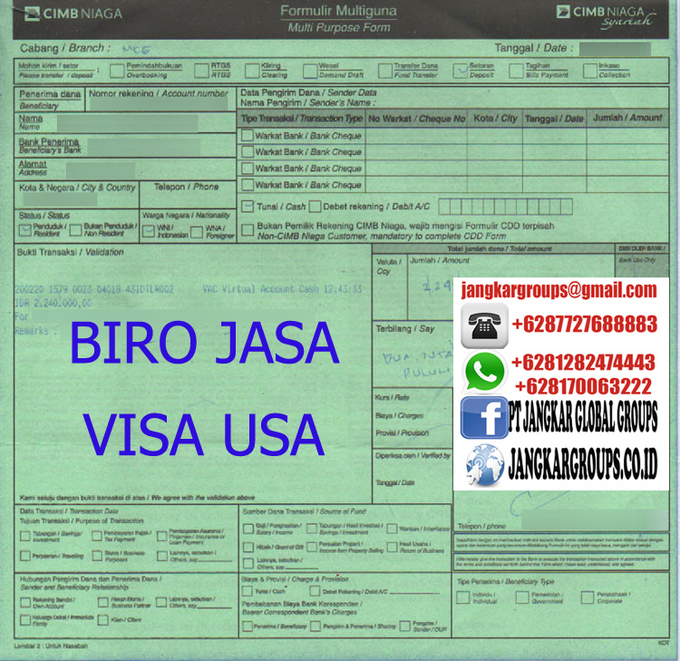 biaya visa usa R B1 B2