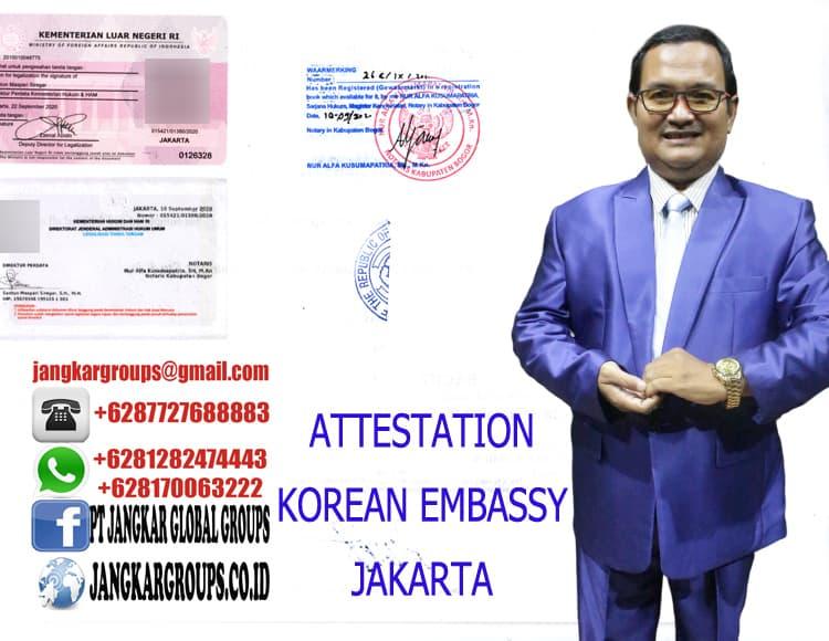 ATTESTATION KOREAN EMBASSY JAKARTA
