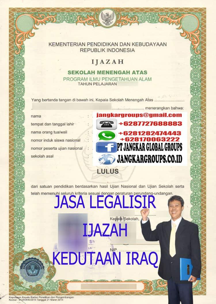 JASA LEGALISIR IJAZAH KEDUTAAN IRAQ