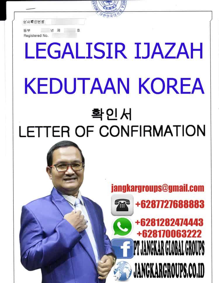 LEGALISIR IJAZAH KEDUTAAN KOREA