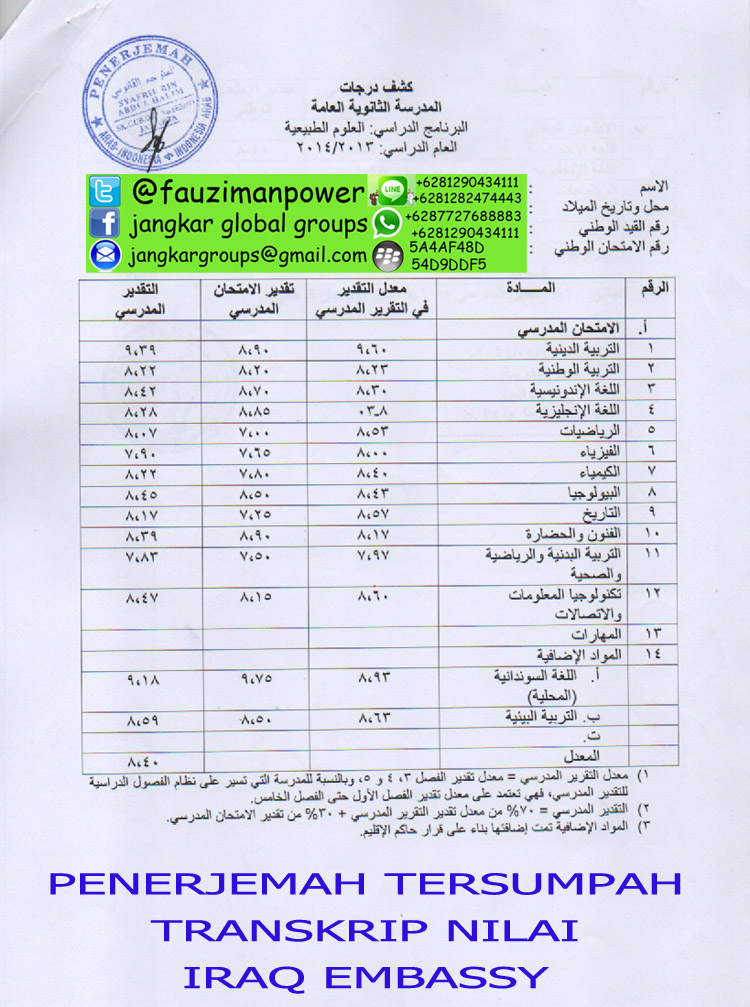 Penerjemah arab tersumpah transkrip nilai