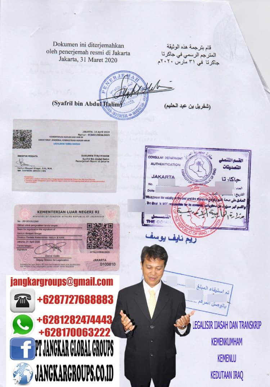 Urus legalisir ijazah dan transkrip kedutaan iraq